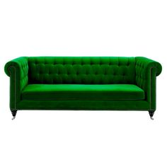 Wrapped in green velvet and showcasing nailhead trim, this sofa makes the perfect statement piece for your living room or den. Produc...