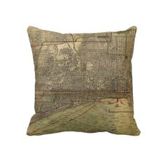 Vintage Map of Chicago (1892) Throw Pillow from Zazzle.com $62.40
