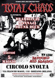 #Punk news: TOTAL CHAOS + BRAMBILLAS + MANNAJA + DRUNK DUCK @ CIRCOLO SVOLTA http://www.punkadeka.it/total-chaosbrambillasmannajadrunk-duckcircolo-svolta-5-maggio-rozzano/ Martedì 5 maggio Ghost Factory Records, in collaborazione con Killerdogz Music Factory e Circolo Svolta vi propongono una serata davvero unica: In esclusiva, dalla California, per il loro 25° anniversario, gli storici TOTAL CHAOS, una band che ha fatto la storia del punk hardcore. Ad a...