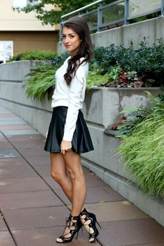 leather skirt + sweater