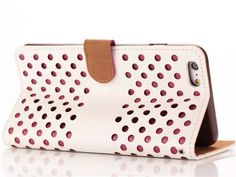 Fashion Unique Hollow Polka Dots Leather Stand Flip Case For iPhone 6 Plus 5.5 inches Wallet Card Holders Case Pouch Cover