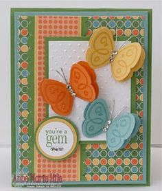 Stampin' Up! ... handmade card from Stampin' Anne patterned paper and butterfles in yellow orange and blue ... cheerful look ...