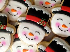 """Oh Sugar Events snowman cookies - these adorable snowmen really would love to """"melt in your mouth!"""""""