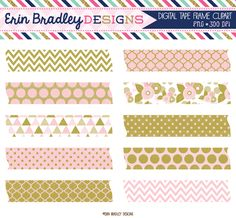 Pink and Gold Digital Washi Tape Clipart Instant Download Graphics Personal & Commercial Use Frame Tags