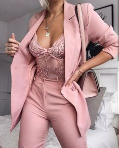 Pink suit and lace bodysuit Source by fashion pink Womens Bodysuit, Lace Bodysuit, Bodysuit Fashion, Rompers Women, Jumpsuits For Women, Fashion Jumpsuits, Mode Outfits, Fashion Outfits, Fashion Trends