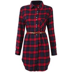 Plaid Long Sleeve Turn Down Collar Shirt Dress For Women ($24) ❤ liked on Polyvore featuring dresses, green shirt dress, shirt dress, red shirt dress, vintage green dress and red dress