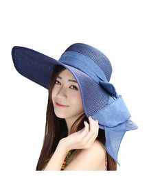 Bowknot Casual Straw Women Summer Hats Big Wide Brim Beach Hat Navy  CE12F909AL1 6f1756e6fb5