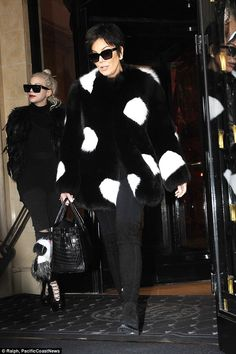 Earlier on: Kris Jenner ensured that she was seen leaving Paris in one final eye-catching look