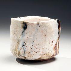 Hori, Ichiro, Hori Ichiro, straight, sided, white, shino, glazed, glaze, teabowl, chawan, tea bowl, 2011, stoneware, clay, ceramics, Japan, Japanese, Japanese ceramics, traditional, contemporary, pottery