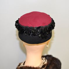 Pillbox Hat Vintage 60s Embroidery Lace Dana Marte
