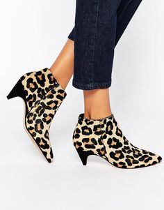 03acff22b4d6 Dune Ophelia Animal Print Pony Effect Mid Heel Ankle Boots - ShopStyle