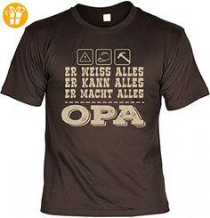 T-Shirt Grossvater - Er weiss, kann, macht alles - OPA - Geschenk Idee mit Humor zum Vatertag Opatag Geburtstag - braun, Größe:S (*Partner-Link)
