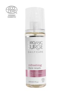 ECOCERT Greenlife certified Organic Surge natural vegan daily care Refreshing Face Wash. Suitable for sensitive skin with pure rose geranium essential oil.