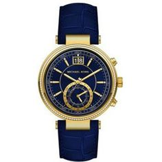 MK2425 Sawyer gold-plated stainless steel watch (680 BAM) ❤ liked on Polyvore featuring jewelry, watches, blue, leather-strap watches, blue watches, wristwatches, blue jewelry y blue jewellery