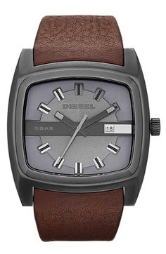 Liking this DIESEL® Square Leather Strap Watch, although it's probably too big for my wrist