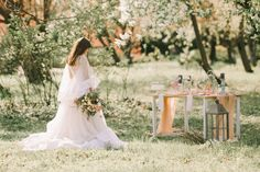 We chose a bohemian chic wedding dress and a minimalist table set to match a dreamy landscape of a garden with blooming trees. Bohemian Chic Weddings, Chic Wedding Dresses, Blooming Trees, Fairytale, Minimalist, Landscape, Spring, Garden, Modern