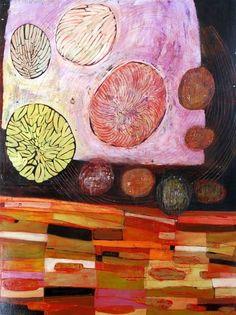"Barbara Gilhooly  ""Layered Garden""  Acrylic, ink, carving on birch"