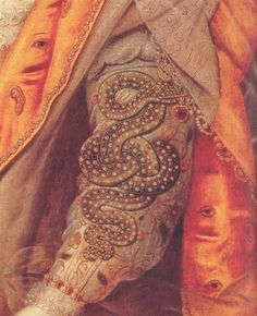 DIVA ELIZABETHAThe coils of the serpent with armillary sphere, detail of ELIZABETH I: THE RAINBOW PORTRAIT attributed to Marcus Gheeraerts, c. 1600 (courtesy of Hatfield House)