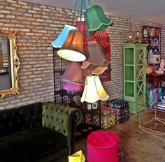 Pendant light, hanging ceiling fixture from repurposed old lampshades of different colors; Image via Flordebali; Upcycle, Recycle, Salvage, diy, thrift, flea, repurpose, refashion!  For vintage ideas and goods shop at Estate ReSale & ReDesign, Bonita Springs, FL