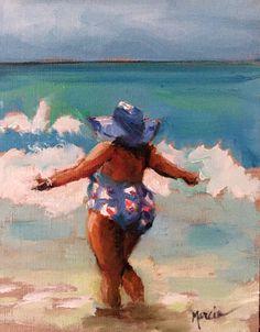 """Well, Praise the Lord"" Impressionistic painting of woman on the beach Woman On Beach, Fat Art, Summer Painting, Painting People, Impressionist Paintings, Coastal Art, Arte Pop, Am Meer, Mermaid Art"