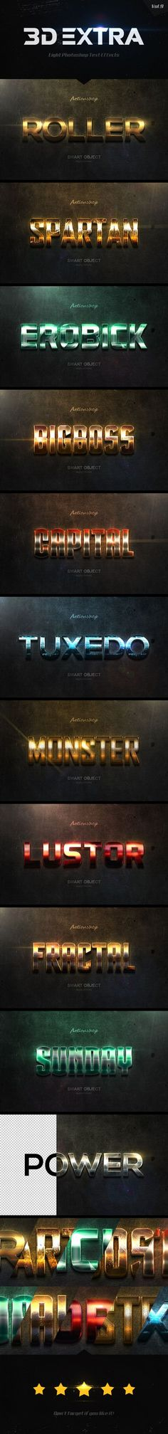 New 3D Extra Light Text Effects Vol.9 - Styles Photoshop