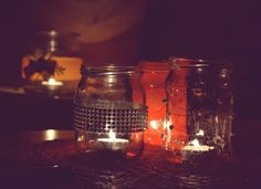 DIY jars as candleholders