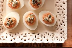 Sophisticated eggs with a beet, lemon, and chive filling and a smoked blue cheese topping.