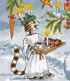 Lucia Day, Pettson and Findus (bilderböcker) by Sven Nordqvist, Sweden Swedish Christmas, Christmas Cats, Winter Christmas, Christmas Time, Christmas Illustration, Children's Book Illustration, Sankta Lucia, Trolls, Christmas Feeling
