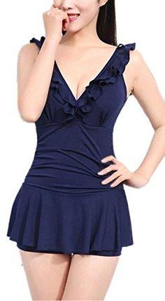 6b9da8d40a MiYang Women s One-piece Ruched Halter Push Up Slim Swim Dress