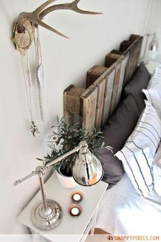 Pallet DIY : Pallet headboard in wood pallets 2 diy with Pallets headboard Bed Decor, Headboards For Beds, Diy Furniture, Home Decor, Wood Diy, Make Your Own Headboard, Pallet Diy, Diy Headboard, Pallet Headboard Diy