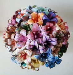 Paper Flowers Lily Origami Bouquet  Wedding Paper Anniversary Valentines Wedding Favours Centre Pieces