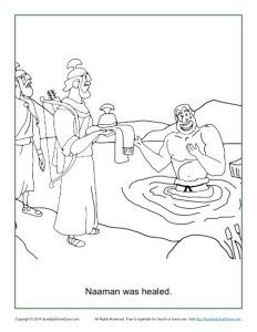 Sunday School Coloring Page For Kids Naaman Was Healed Infantil