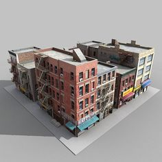 3d fbx buildings city block architectural 3d Building Models, Cartoon Building, Building Drawing, Building Art, Game Environment, Environment Concept Art, Environment Design, Minecraft City, Minecraft Houses