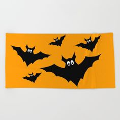 Adorable Halloween flock of black flying bats on orange background.<br/> <br/> <br/> <br/> scary, night, animal, vampire...