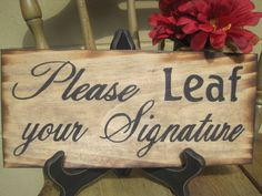 Rustic Wedding Sign Guestbook Sign Please Leaf by dlightfuldesigns