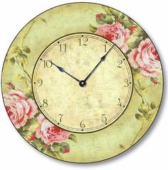 Vintage Style Pink Rose Clock