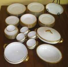 Theodore Haviland Limoges 58pc Art Deco Gold Encrusted China Luncheon Set C1925   $210