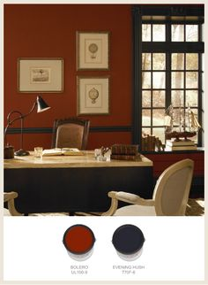 Dark red makes this traditional office look stately and formal. | @BEHR colorfullybehr.com