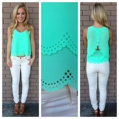 I like the unique style of this top and the color.  I would like to try white jeans but not so tight.