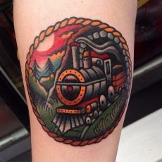 Traditional Train Tattoo by Luke Jinks.