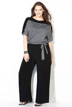 Geo Bodice Jumpsuit-Plus Size Jumpsuit-Avenue Sun Dress Casual, Casual Work Outfits, Business Casual Outfits, Curvy Outfits, Work Fashion, Curvy Fashion, Fashion Outfits, Plus Fashion, Queer Fashion