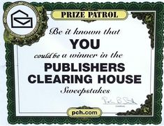 Be it known that Alexander Henderson is a winner in the PUBLISHERS CLEARING HOUSE sweepstakes