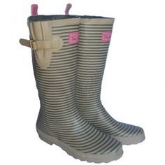 Olive Stripe Joules Wellies