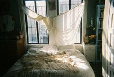 The big windows, the low bed. Messy Bed, H & M Home, Through The Window, Humble Abode, White Walls, My Room, Decoration, My Dream Home, Living Spaces