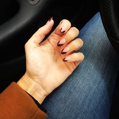 dark plum french tip on almond shaped nails #nails #fall #winter