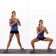 Le sumo squat :  Mettez-vous debout, écartez vos jambes de sorte à ce que l'écart égale la taille de vos hanches.  Tournez vos pieds vers l'extérieur comme les danseuses de ballet classique puis pliez les genoux en gardant le dos bien droit.  Faites 3 séries de 20 de cet exercice.