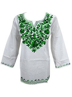 Womens Indian Tunic Tops Floral Embroidered Cotton Peasant White Kurta Top Large Sz Mogul Interior http://www.amazon.com/dp/B011I9XCCY/ref=cm_sw_r_pi_dp_Q3oPvb07GT6KF
