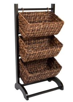 Abaca Birdrock Home 3 Tier Storage Cubby Brown Made Extremely Durable 8440  Cub