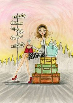 : Greta On The Go Canvas Print by Bella Pilar Canvas Art Travel Illustration, Cute Illustration, Go Canvas, Canvas Prints, Canvas Size, Images Vintage, Painting Prints, Paintings, Wrapped Canvas