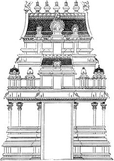 Vastu Shastra tips for the main door/entrance - House plans Indian Temple Architecture, India Architecture, Ancient Greek Architecture, Chinese Architecture, Architecture Drawings, Temple India, Hindu Temple, Temple Drawing, Pooja Room Design